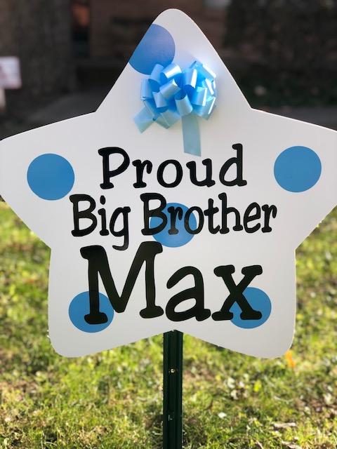 Blue Sibling Sign : Stork Rental in NW Oklahoma City, The Village, Nichols Hills, Edmond, Yukon, Piedmont, Bethany, Arcadia